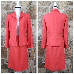 NWT Kasper 6 Skirt Suit Orange Open Front Set